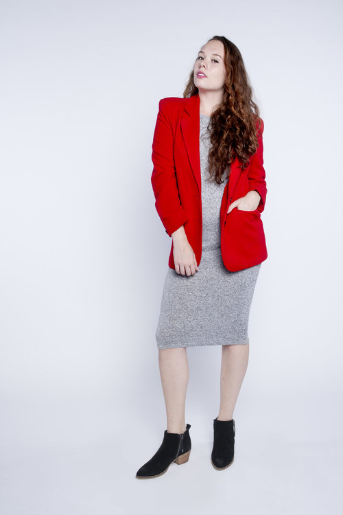 Vintage Red Oversized Blazer L