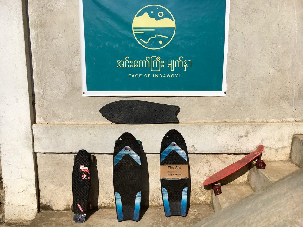 """The Indawgyi Fleet. We offer a range of awesome cruiser boards from the Bureo """"Ahi"""" and """"Minnow"""" to smaller Penny boards."""