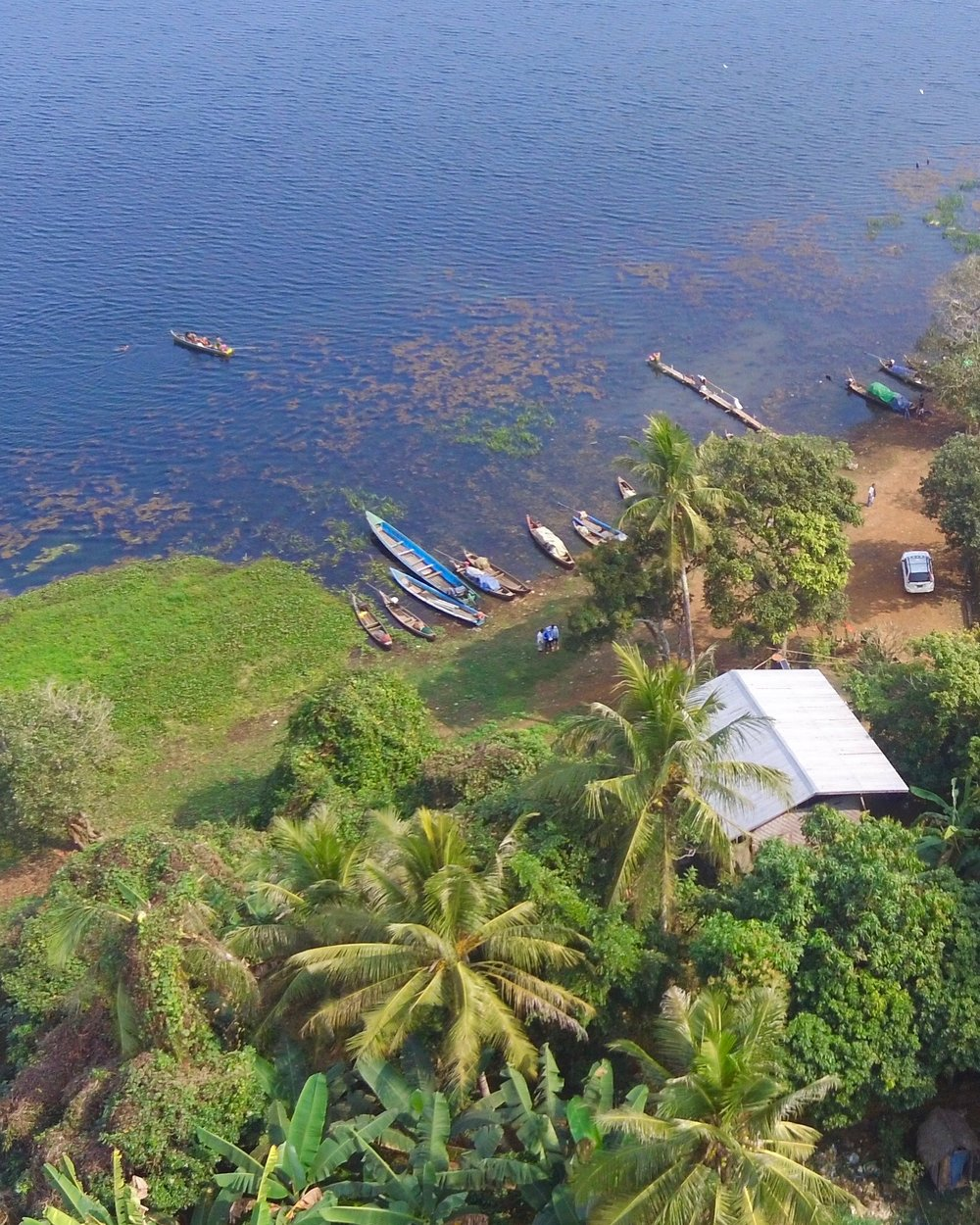 An aerial view of the lush guesthouse property which is located on the original hill where Lon Ton Village was founded.