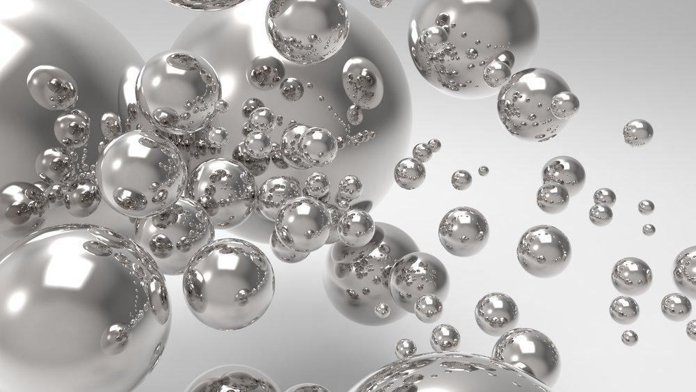 Rendered Image of silver spheres keyshot