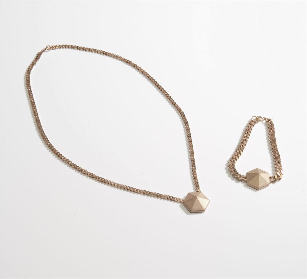 hexagon pyramid stud flat curb chain necklace bracelet set.jpg