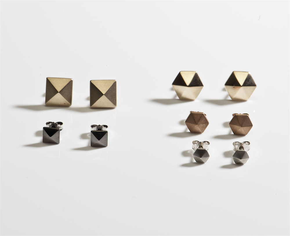 pyramid stud earrings silver gold plated black jewellery.jpg