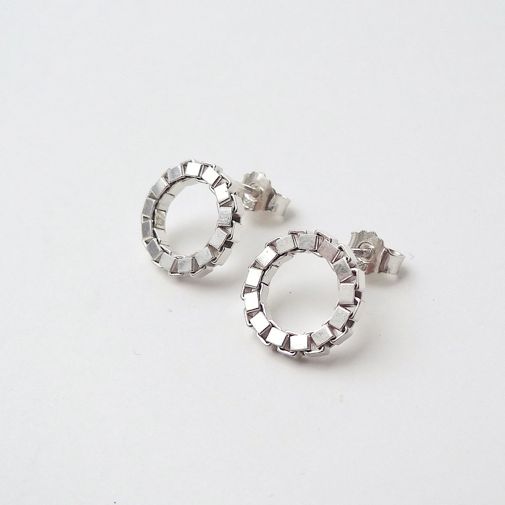 1 earrings studs chain circle frontal silver jewellery.JPG
