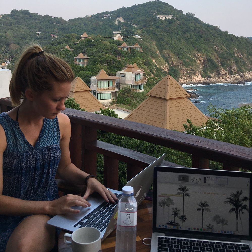 Checking emails in Koh Tao, Thailand.JPG