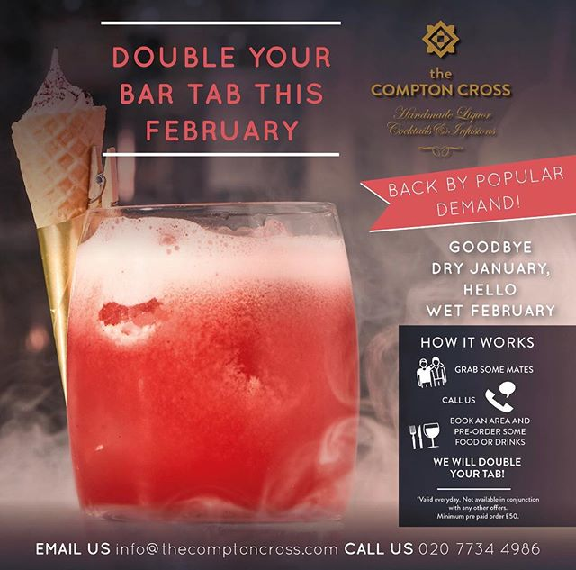 You heard us! Show us the money and we'll double it for you, in Feb! Give us a call 02077344986 or email info@thecomptoncross.com to yourself booked in 🥂