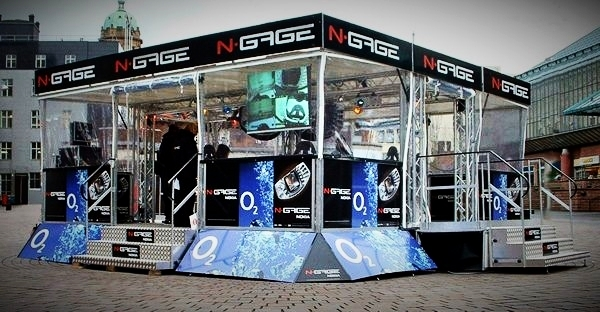 Promotional exhibition trailer with original sleek design, glass fronted panels and fold out steps in Sussex