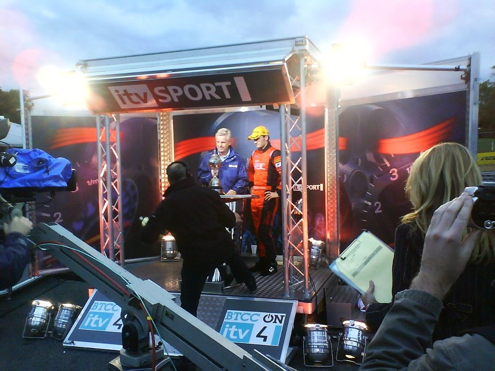 Promotional trailer for itv sport, a commentary display stand exhibition trailer with spotlights and stage built by Blackburn trailers in Sussex