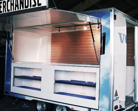 Volvo exhibition display trailer with built in shelving and fold out awning, environmentally friendly design built in Sussex