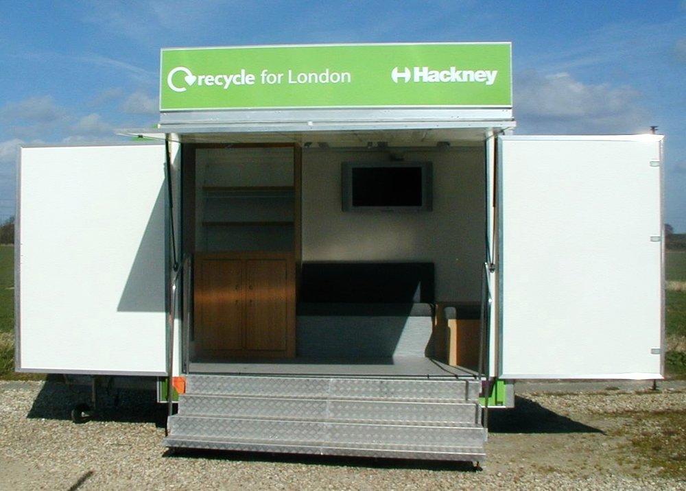 Exhibition trailer with fold out doors, steps for easy access and functional built in furniture, built in Sussex