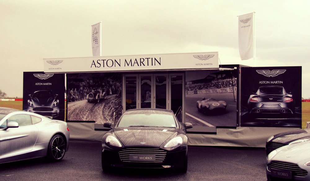 From the Kompak range of exhibition trailer by Blackburn Trailers in Sussex, this large maxi promotional trailer for Aston Martin with front panels, easy access steps, low floor and railings and easy to tow environmentally friendly design, beautiful structure