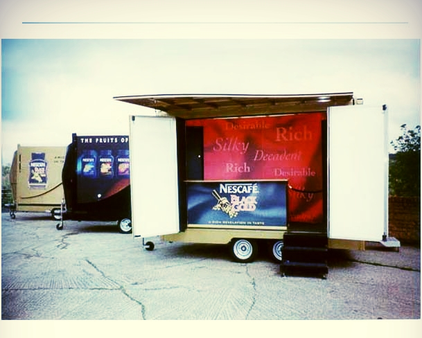 Nescafe branded exhibition promotional trailer built in Sussex with roof canopy and fold out doors