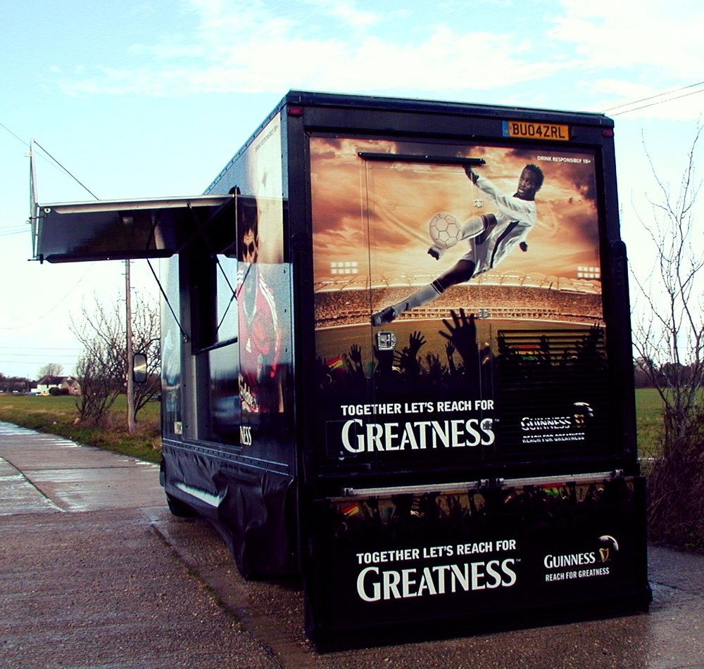 Exhibition Trailer used for promotional product sampling, brand awareness, well designed with striking graphics well designed