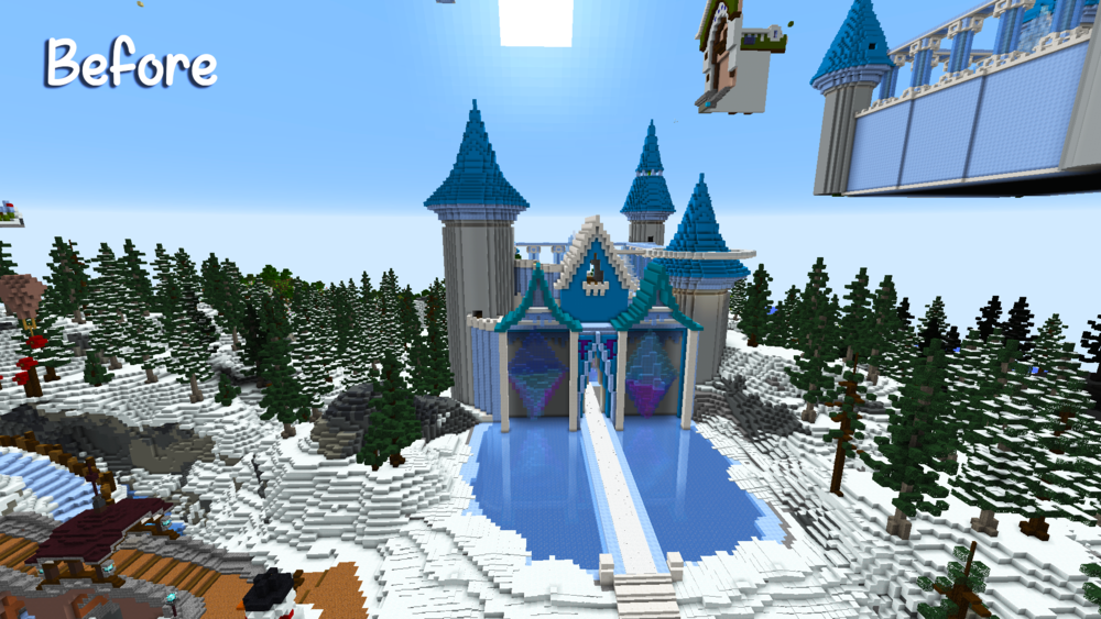 The Ice Castle during construction