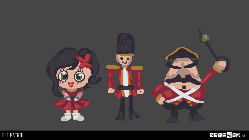 Concept drawings of the toy soldiers and Tina
