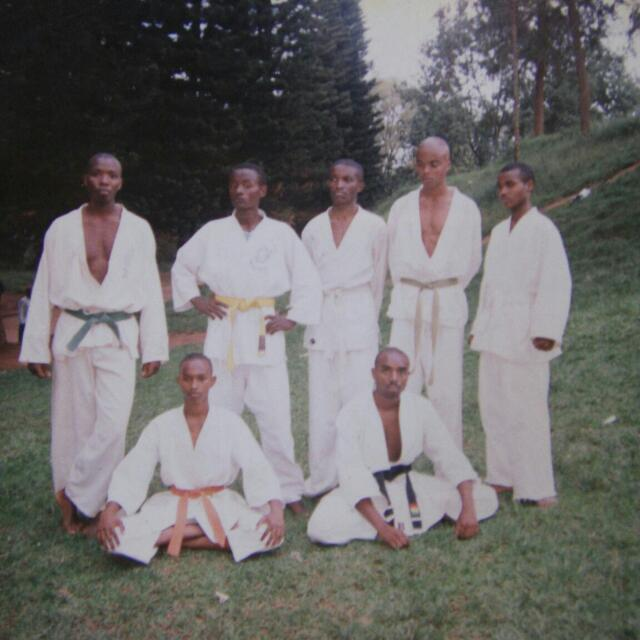 From up left, Stepthen, Kujo, Peter, Roger and Kizungu Down left, Mark and Olivier (Ven. Sangharakkhita).