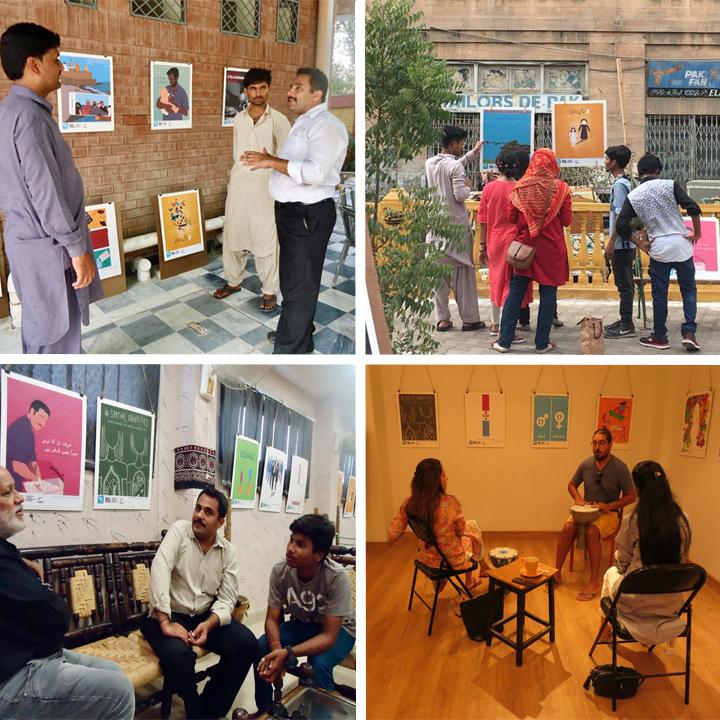 Top Left: Postervism at Sukkur Press Club - Top Right: Postervism at PCCC   Bottom Left: Postervism at Khanabadosh - Bottom Right: Postervism at T2f