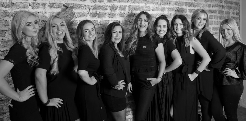 L-R.   Amy  (our lash queen),  Natasha  ( colourist, extensionist and hair obsessed),  Donna  (boho blowdry boss),  Laura  (styling supremo, instapro & in-house cocktail expert!),  Danielle  (Dublin's curly blowdry queen),  Sinead  (our newest family member and award winning colourist specialising in colour transformation),  Yvonne  (colourist and styling expert),  Sharon  (our girlboss and team leader),  Courtney  (our beach wave babe), (  missing - because we can never get everyone in the same place!)… Nicole  (colourist, extenionist and hollywood wave PRO),  Stephanie  (upstyle obsessed!)