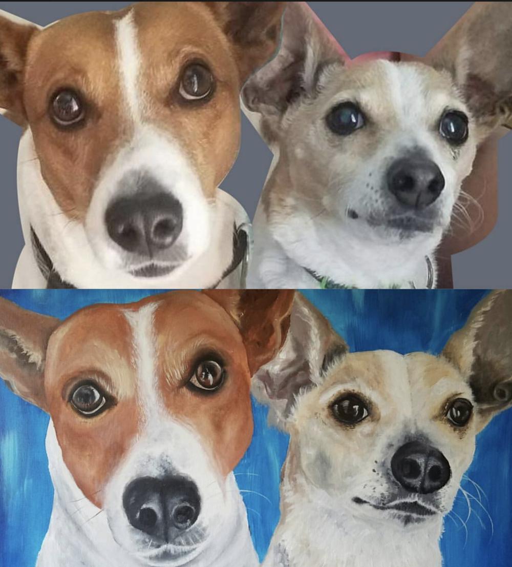 Top: Original Photo  Bottom: Custom Painting  Acrylic on Wood Panel