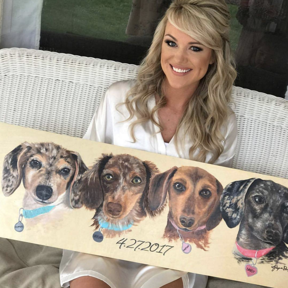 I used four individual images of the dogs to create an original composition of this one of a kind custom pet painting.  Acrylic on Wood Panel
