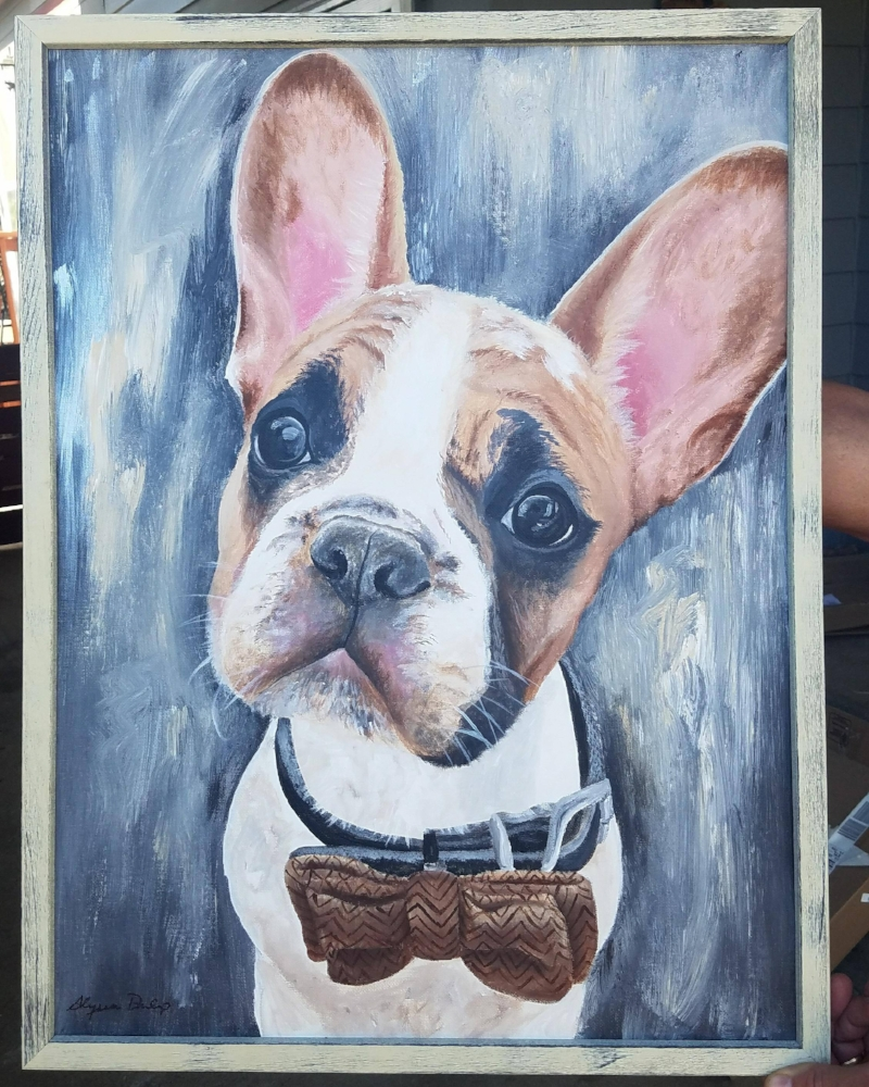 This Frenchie puppy was created to match the interior of the home of his human mom who commissioned the painting. I added flecks of Ivory, neutral grey and irridescent silver in the background paint and wrapped it all up in a natural ivory frame.