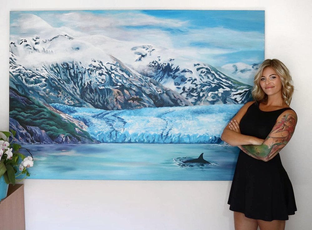 SAWYER GLACIER, ALASKA  48X72 // Acrylic on Canvas  Creating a painting of the iconic and breathtaking scenery of Sawyer Glacier in Alaska was truly a dream come true. This painting was commissioned by a loving husband as a birthday surprise for his wife. If you look closely, hidden in the detail of the mountainside, you can spot the number 35 representing the cruise to Alaska on the couples 35th wedding anniversary in addition to 5.8.82 representing the day they were married.