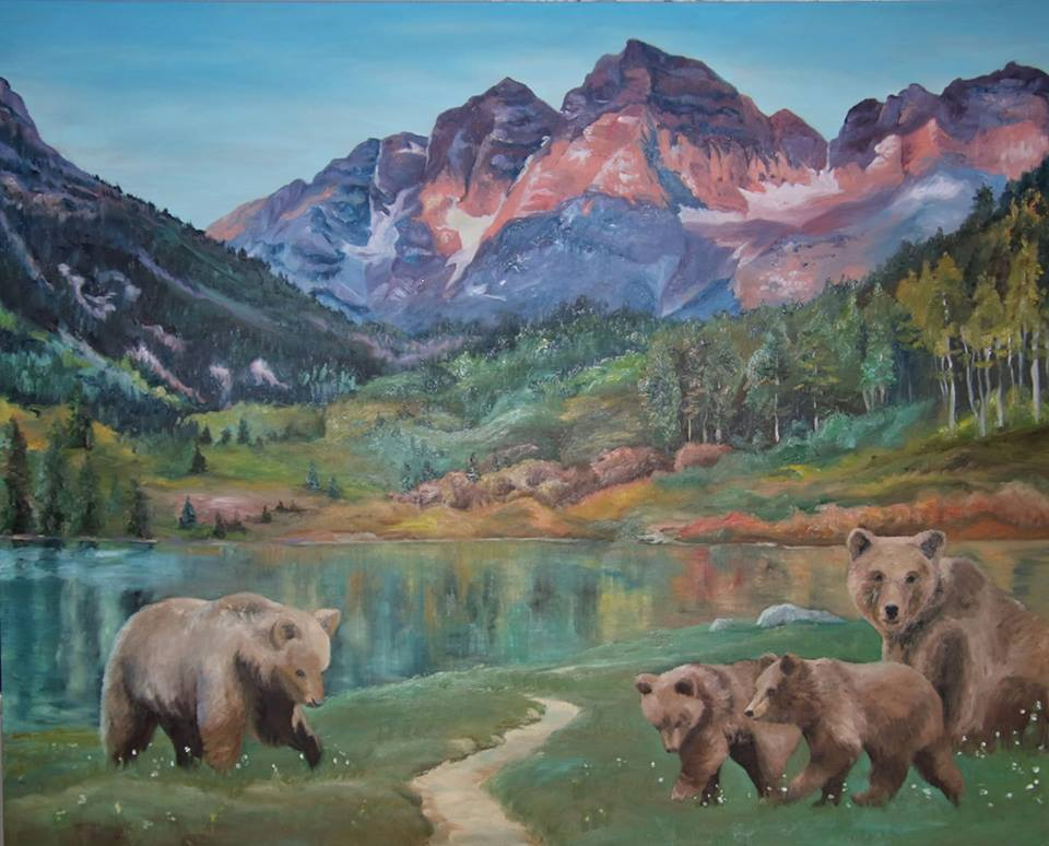 BROWN BEARS AT MAROON BELLS  48X60 // Oil on Canvas  This oil painting was commissioned by a Colorado family to portray their Navajo family heritage through a family of brown bears playfully spending a sunny day in front of the iconic Maroon Bells in the Elk Mountains of Colorado.