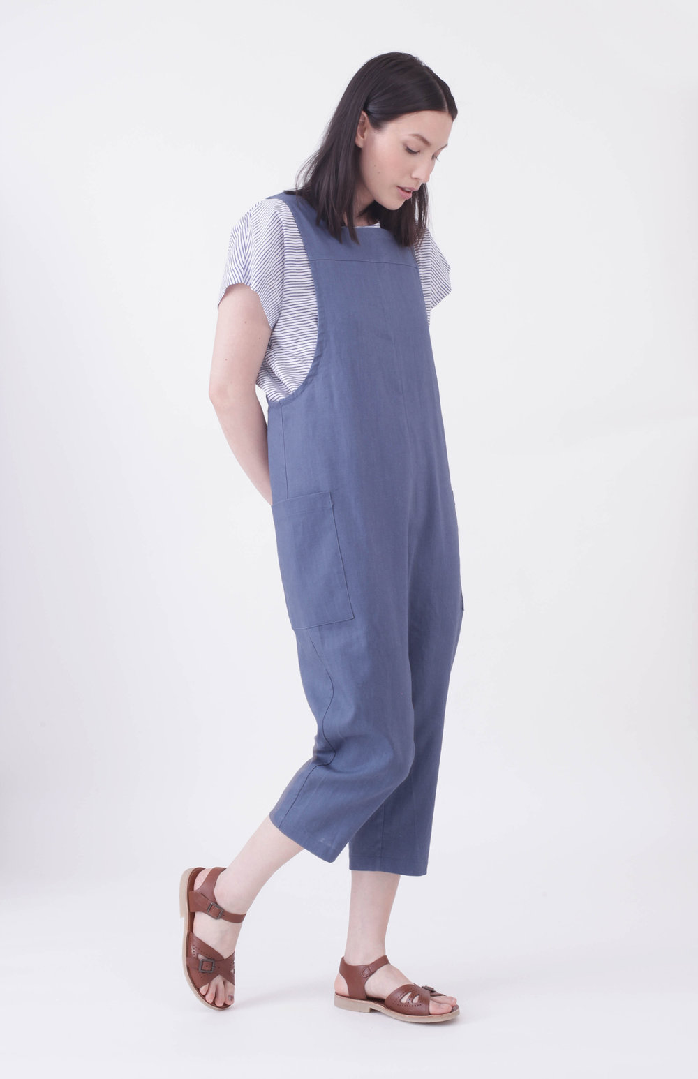 Cross back Overalls - Indigo 100% Linen