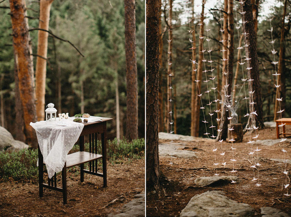 ceremony details in the woods
