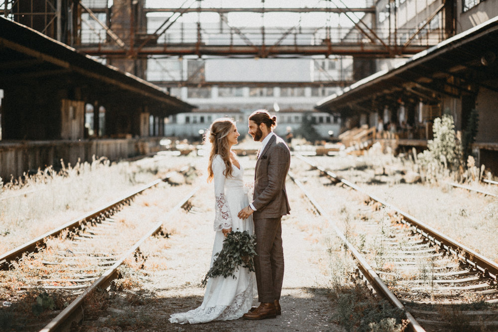 wedding in abandoned train station