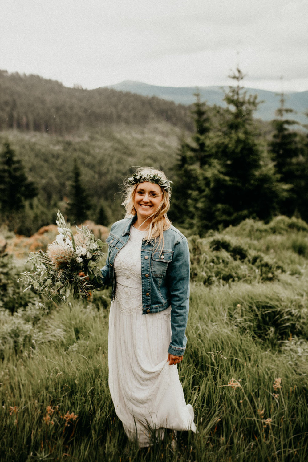 portrait of the bride with mountains in the background