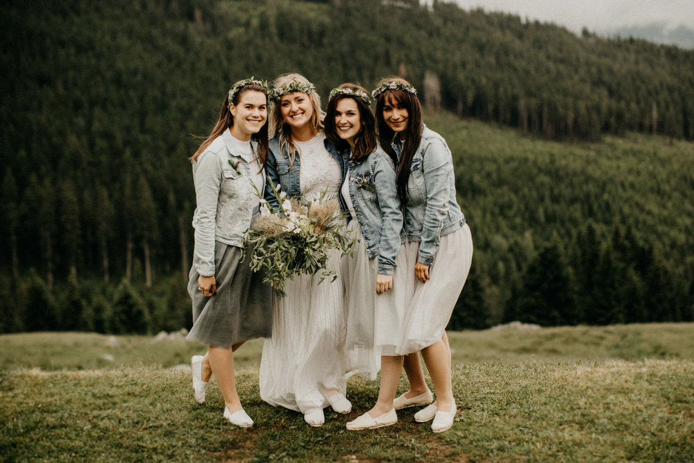 bridal party rocking denim jackets