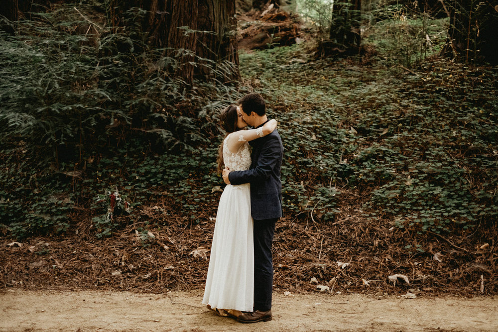 finally married, first kiss in the forest