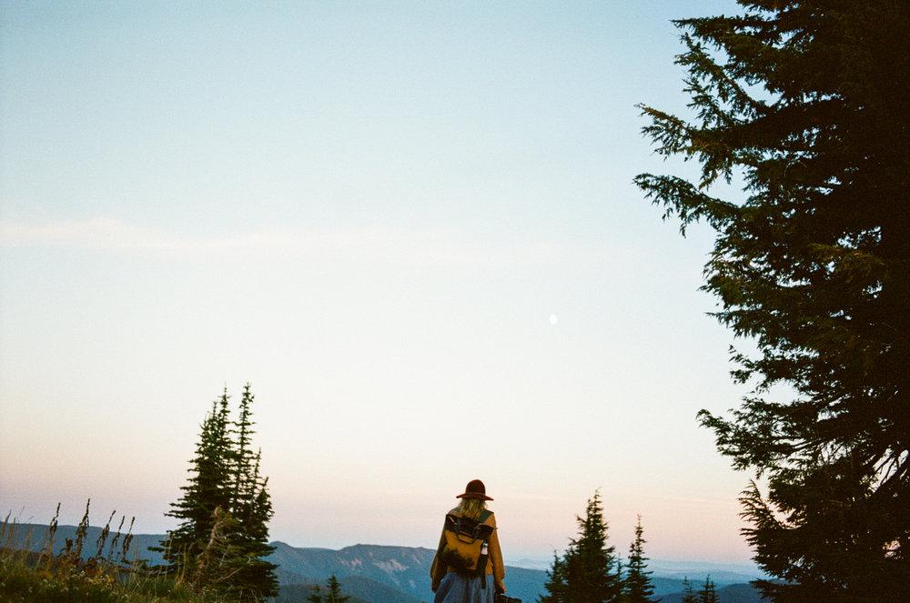 hiking on Oregon during sunset