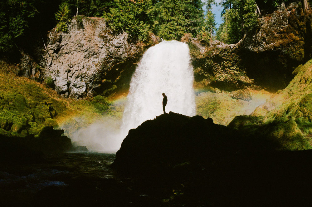 waterfall in oregon shot on film Leica