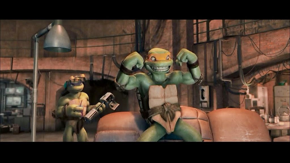 "Michelangelo: ""These are the Christopher Nolan days, dudes!  Gotta look gritty!  Grrr..."""