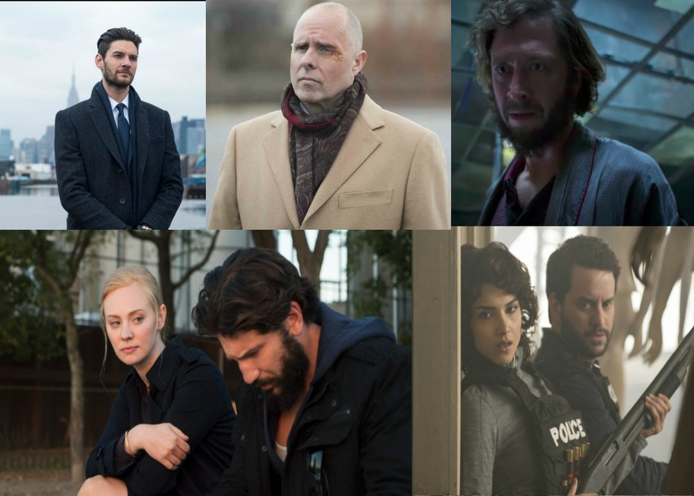 The fantastic supporting cast of the Punisher. From top left to bottom right: Billy Russo, CIA Deputy Director Rawlins, David Lieberman a.k.a. Micro,  Karen Page w/ a bearded Frank Castle, and Agents Madani and Stein