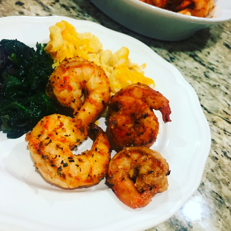 Brown butter shrimp, sauted spinach with onions and mushrooms, and macaroni and cheese