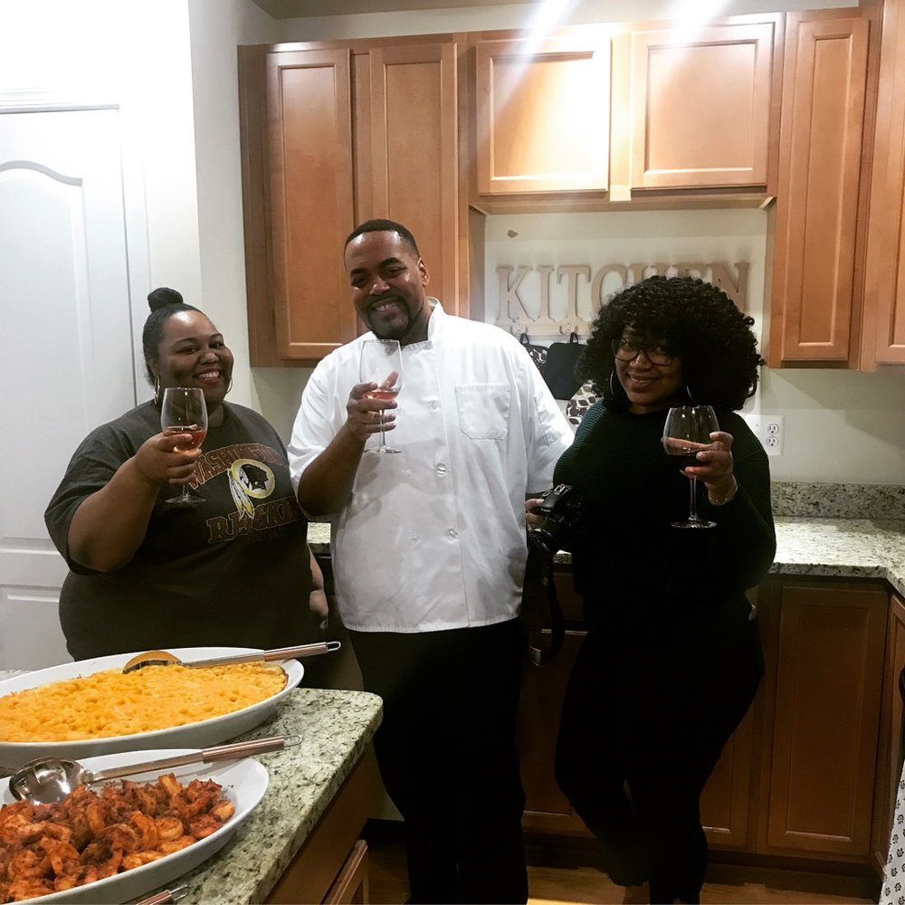 Pictured: Tamika, Chef Andre Baker, and videographer Salanj Moore