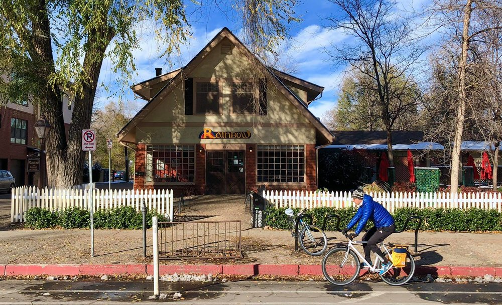 Staff at Rainbow Restaurant in Fort Collins, CO get paid to ride their bikes to work.