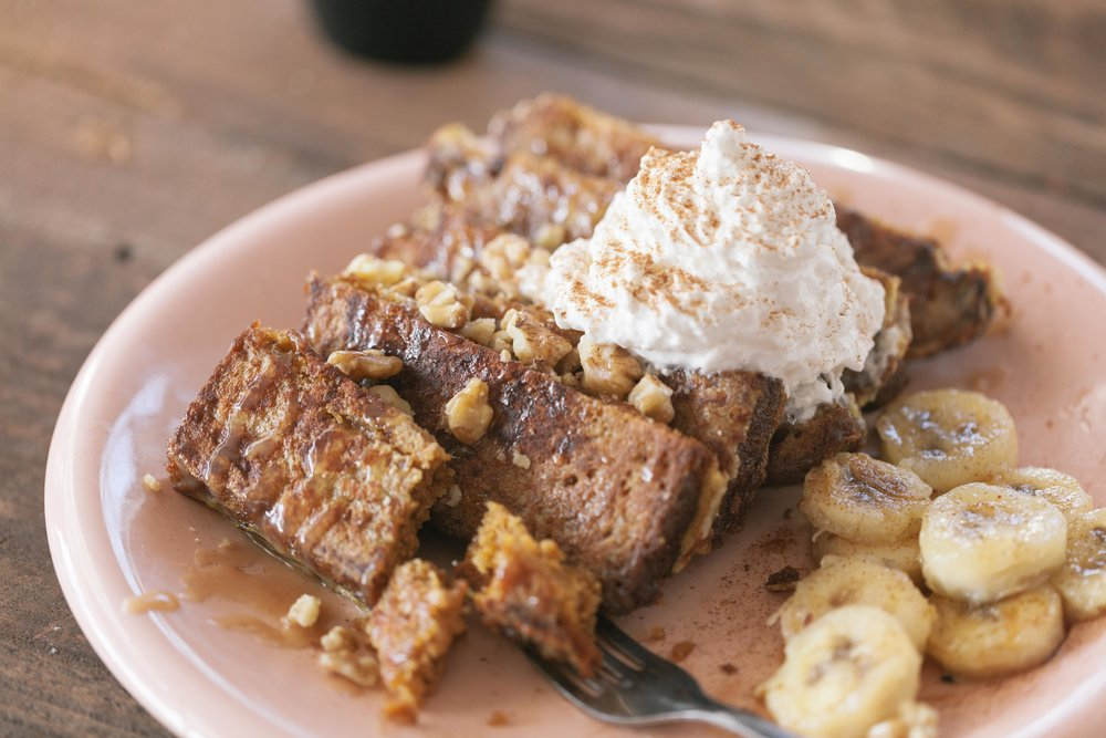 Rainbow Restaurant's Pumpkin Bread French Toast can be made gluten-free upon request with our house-made gluten-free bread!