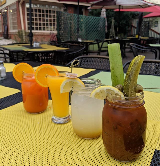 Cocktails are buy one get one half off today!  Come indulge in a few on our patio!  #cocktails #bloodymary #mimosa #funnybunny #mule #vodka #champagne #🍾 #brunch #rainbowdrinks #patio #treatyoself