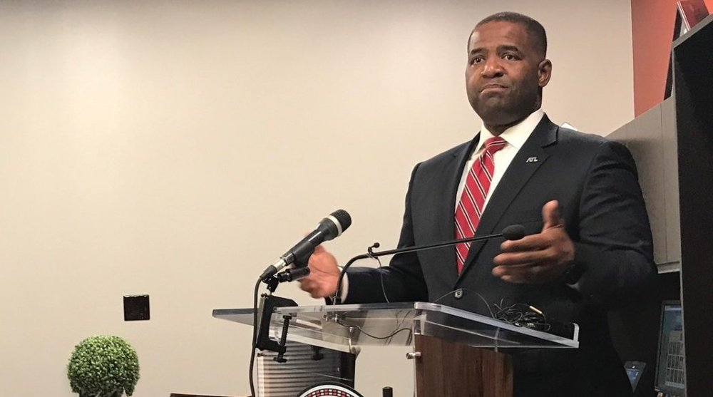 Atlanta City Council President Ceasar Mitchell, pictured in his City Hall office defending his proposal for a moratorium on contracts that begin service in 2018 against heated criticism from Mayor Kasim Reed. (Photo by Maria Saporta)