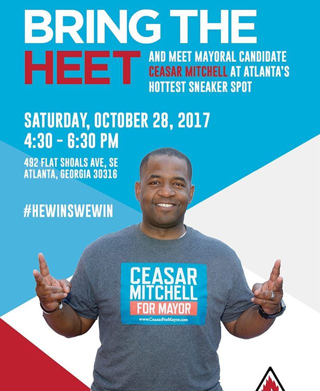 Meet me at Heet tomorrow! Politics and sneakers. Let's talk about it. I'll see you there Atlanta! @heetatl #OneATL #CeasarForMayor