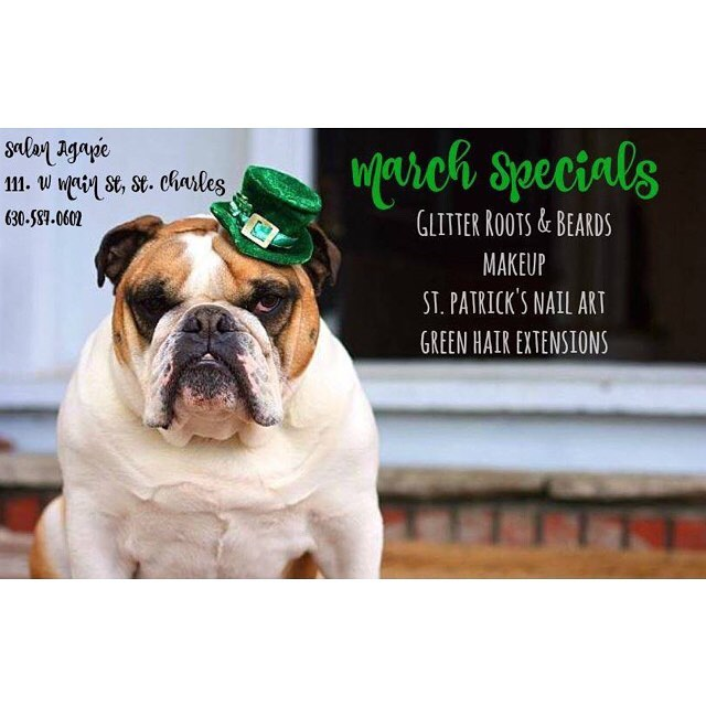 Don't forget to stop by tomorrow and participate in some of our GREEN festivities! #downtownstcil #stcharles #stcharlesil #salonagape #green #stpatricksday #stpattysday #glitterroots #nails #glitterbeard