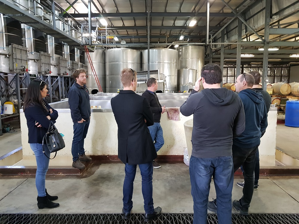Dan outlining the processes required to produce Redman wines.