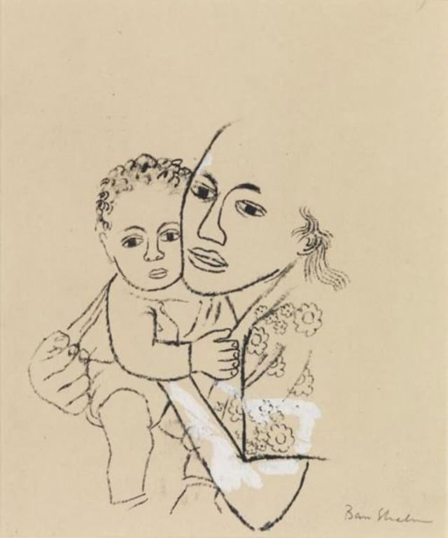 """""""Untitled [She was born in June and she was beautiful.]"""" 1948. Ben Shahn (American, born Lithuania, 1898-1969) Pen and ink on wove paper, reworked with white pigment. Currently on view at @SmartMuseum. 