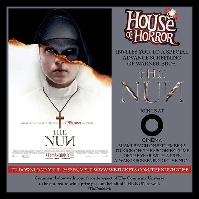 We've teamed up with @thenunmovie to invite our followers to a special advance screening of 'The Nun'  at @ocinema on Miami Beach. TAG a friend who'd you like to see the movie with for a chance to win an official #thenun prize pack and tickets to #houseofhorrormiami opening night on September 27th!