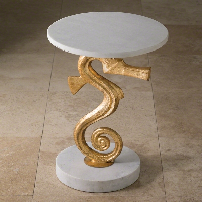 Sea horse side table - Marble top and base with gold metal seahorse  16″ diam X 21.5″ h