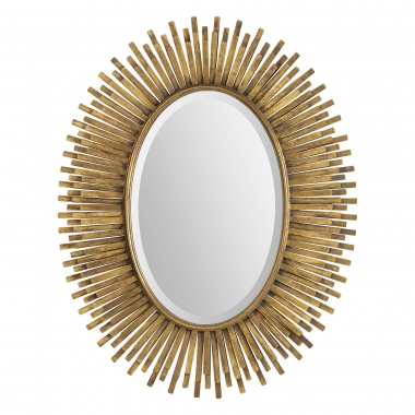 Sparta Mirror - A great golden fringe frame surrounds a beveled oval mirror. Made from metal with a stunning antique gold leaf finish. Dimensions: 39 x 31″