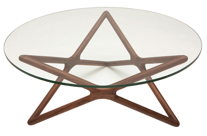 Star wooden Table - AmericanWalnut base and tempered glass top.40